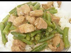 Recept na dietní přípravu masa a zelených fazolek.