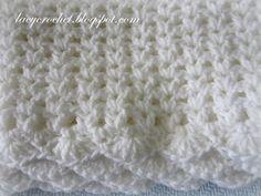Lacy Crochet: V-Stitch Baby Afghan with Scalloped Trim http://lacycrochet.blogspot.com/2013/05/v-stitch-baby-afghan-with-scalloped-trim.html