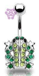 Belly Ring - 14g Green CZ Frog Belly Barbell