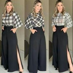 Loose palazzo high waist wide leg pant with pleated detail Fashion Pants, Hijab Fashion, Fashion Dresses, Classy Outfits, Chic Outfits, Girly Outfits, Western Dresses, Mode Outfits, Look Chic