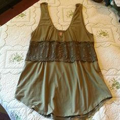 Free People tank top Cute olive green tank with lace bodice that goes all the way around. Gently worn and in great condition. Free People Tops Tank Tops