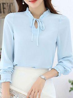 40 Stylish Blouse For Work Ideas Blouse Styles, Blouse Designs, Work Blouse, Blouse Online, Chiffon Tops, Chiffon Shirt, Blouses For Women, Ruffle Trim, Clothes