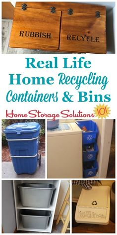 Lots of real life home recycling containers and bins, as shown in use in people's homes, to show you practical ways to organize your recyclables in your kitchen and elsewhere in your home {on Home Storage Solutions 101} #OrganizingTips #OrganizedHome #Recycling