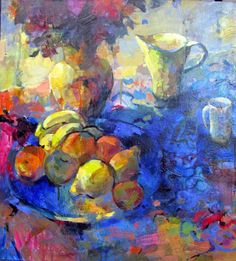 "Lib Steward ""Still life with Fruit"" Acrylic on canvas"