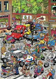 Jan van Haasteren's Traffic Chaos 500 piece jigsaw puzzle is a hilarious illustration that depicts an extremely chaotic traffic jam that's getting out of hand. Illustrations, Illustration Art, Reto Mental, Picture Writing Prompts, Shark S, Hidden Pictures, Puzzle Art, Cartoon Art Styles, Space Crafts