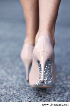 Nude heels with hidden glitter. I love the glitter!
