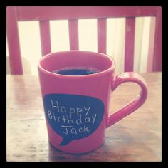 Coffee 365:  Today I am having coffee (Trader Joe's Dark  Roast in World Market chalkboard cup) with my favorite (and only) son, Jack.  I'm sipping excellent coffee while I absorb the shock that my baby is 5!