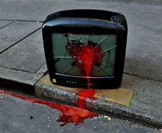"""Who's Behind These Gruesome Murders of Street Furniture? These are the disturbing creations of Lor-K, a Parisian artist who's built a bloody volume of work called """"Objecticide."""" (via CityLab) art art graffiti art quotes Nam June Paik, 3d Art, Street Furniture, Furniture Showroom, Aesthetic Grunge, Pics Art, Aesthetic Pictures, Overlays, Graffiti"""