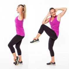 Vertical Abs Exercise: Standing Bicycle - Vertical Abs Workout: 6 Standing Abs Exercises for a Flat Stomach - Shape Magazine Ab Floor Workout, Abs Workout Video, 10 Minute Workout, Abs Workout For Women, Ab Workout At Home, Fitness Workouts, Toning Workouts, Shape Magazine, Standing Ab Exercises