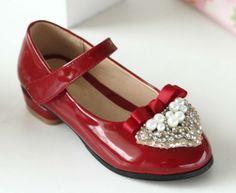 2014 spring girls dress shoes with pretty pearls high heel shoes for children $6.8~$9.7