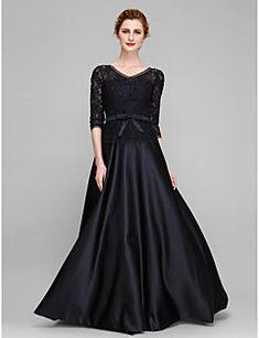 Lanting Bride® Krój A Sukienka dla matki panny młodej Sięgająca podłoża Rękaw 1/2 Koronka / Satyna - Kokardki / Koronka