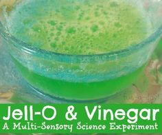Some messy science fun for screen-free week -- A Multi-Sensory Experiment with Jell-O and Vinegar