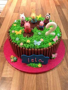 Isla's Peppa pig muddy puddle cake Peppa Pig Birthday Cake, Birthday Cake Girls, 3rd Birthday, Birthday Ideas, Tortas Peppa Pig, Peppa Pig Cakes, Peppa Pig Muddy Puddles, Bolo Rapunzel, Bolo Minnie