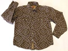 Larry Mahan Boys Brown Paisley Cowboy Western Diamond Snap Button Shirt Rodeo XL #LarryMahan #Everyday