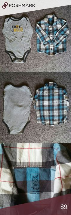 Carter's Long Sleeves Polo & Body Suit Pre-owned. Hardly worn. Both in great condition. Sizes 18M.  Please see photos for more details.  Comes from pet free home. Carter's Shirts & Tops
