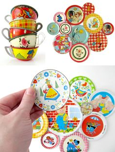 Vintage Tin Dishes. i had some of these as a kid.....way back when. i might have one in my keepsakes. Need to look for them.