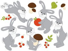 ITEM: Rabbits #Clipart - #Digital #Vector Woodland, Mushroom, Forest, Animals, Rabbits Clip Art for Personal and Commercial Use, Instant Download  WHAT INCLUDED: 12 PNG files ... #thecreativemill #clipart #digital #vector #woodland