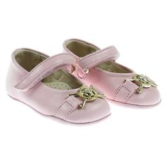68594e4ae208 Young Versace Baby Girls Pink Pre-Walking Shoes with Medusa Emblem Designer  Baby