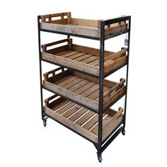 Handmade in the UK! This 4 Shelf Metal Merchandising Unit with 4 vintage potato chitting trays is a real beauty for any retail merchandising environment £295 Ex Vat