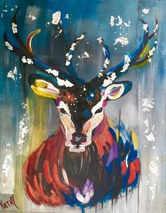"SILVER DEER (Chevreuil Argenté) Instinctive Realism 22"" x 28"" by Kathleen Artist…"