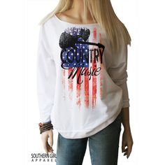 American Flag Country Music Country Music Shirt Country Music... ($29) ❤ liked on Polyvore featuring tops, hoodies, sweatshirts, grey, women's clothing, gray shirt, red white blue shirt, usa flag shirt, grey shirt and red white and blue shirts