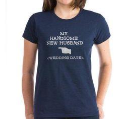Cafepress Personalized New Husband (Wedding Date) Women's Dark T-Shirt, Size: Medium, Blue