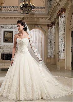 Fabulous Tulle & Organza & Satin Sweetheart Neckline Basque Waistline A-line Wedding Dress