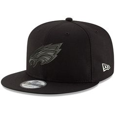 innovative design 89ee9 1c450 Philadelphia Eagles New Era Black On Black 9FIFTY Adjustable Hat - Black