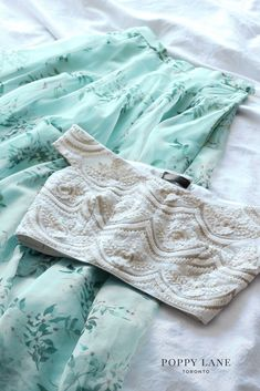 Pastel Indian Lehenga Choli Fashion: Mint lehenga with off-white cream off-shoulder choli, by poppy lane @ Shop. for mehendi, brides sister, and some other in between Indian wedding outfit. Lehenga Skirt, Lehnga Dress, Lehenga Blouse, Red Lehenga, Banarasi Lehenga, Floral Lehenga, Indian Lehenga, Indian Gowns, Indian Attire