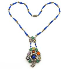 Image of Vintage Art Deco Czech Silver Tone Floral Rainbow Floral Glass Bead Necklace