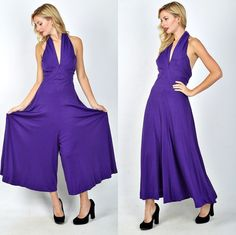 Vtg 70s Purple Plunging Maxi Palazzo Wide leg Halter Backless Boho Jumpsuit  XS