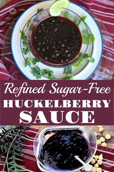 Two different pictures of two different bowl of refined sugar-free huckleberry sauce.