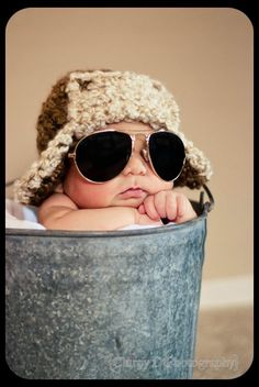 Too cute! Need to make this hat and find some baby aviators when that day comes.