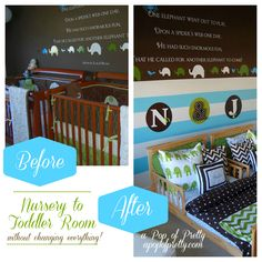 Twin boy toddler room in brown, aqua and olive green.  Room tour at A Pop of Pretty, apopofpretty.com