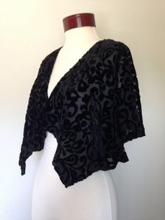 Vintage 90s sheer burnout black cape see by twinflamesboutique
