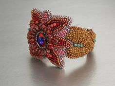 Birthday discount Bead Embroidery Bracelet Statement by Vicus