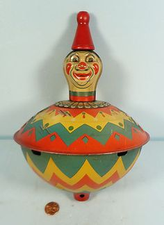 Antique - Vtg Tin Litho Figural Clown Whistling Spinning Toy Top