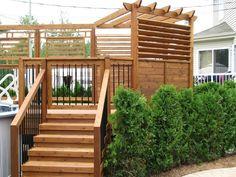Patio piscine hors terre construit à Mirabel - Pur Patio - Pergola Ideas