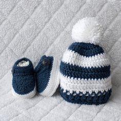 Jungen-Set häkeln Baby Boy Hut und Booties Set von DaisyNeedleWorks