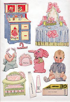 Vintage-Merrill-3444-BABY-SISTERS-paper-dolls-1938-cut-partial-set