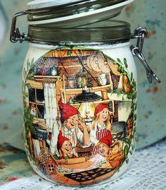 Big glass jar for biscuit  Christmas decor  Tea jar coffee