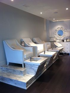 The white room spa Toronto Ontario pedicure stations #pedicure #toronto #spa #waxing #makeup #manicure #beauty #design #comfort