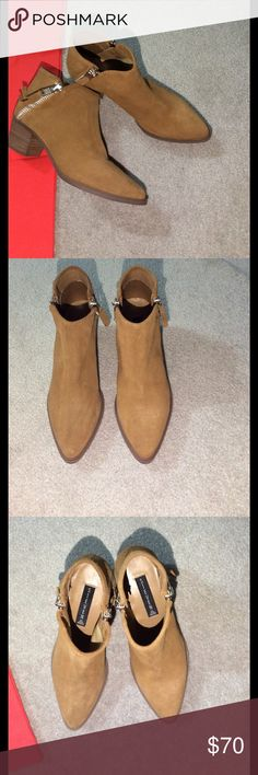 Steven by Steve Madden Suede Zip Ankle Booties Steven by Steve Madden suede ankle zippered booties luggage colored approximately 2.1/2 inches heel, zip opens on both sides of booties, brand new in box never worn Steven by Steve Madden Shoes Ankle Boots & Booties