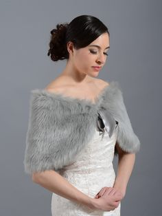 Faux fur wrap bridal shrug stole shawl Cape C002