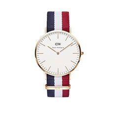 Daniel Wellington Uhr Classic Cambridge Nato-blau-weiß-rot Herren Textilarmband NEU - http://on-line-kaufen.de/daniel-wellington/daniel-wellington-uhr-classic-cambridge-nato-rot