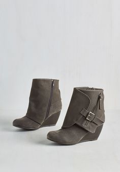 Follow the Fashionista Boot in Pebble by Blowfish - Grey, Solid, Buckles, Exposed zipper, Urban, Fall, Better, Wedge, Ankle, Variation