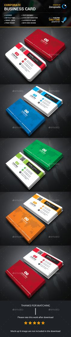 Corporate Business Card — Photoshop PSD #white #pack • Available here → https://graphicriver.net/item/corporate-business-card/15689158?ref=pxcr