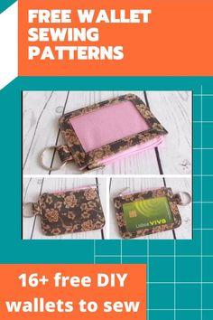Wallet Sewing Pattern, Easy Sewing Patterns, Bag Patterns To Sew, Easy Sewing Projects, Sewing Tutorials, Diy Wallet Pattern Free, Sewing Ideas, Bag Tutorials, Tote Pattern