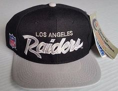 667f2681332 Los Angeles Raiders Vintage Snapback Sports Specialties Script Deadstock  NFL Hat Raiders