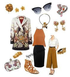 """""""Spring Trend Asian Floral"""" by kitty-hiruma ❤ liked on Polyvore featuring Alexander McQueen, Etro, TIBI, Gucci, Report, Glamorous, Miriam Haskell, Marni, Betsey Johnson and Alex Monroe"""